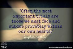 """""""Never Give Up"""" by Joseph B. Wirthlin.  October 1987, General Conference.  #MormonWomenStand #SundayClassics  www.mormonwomenstand.com 8/17/2014"""