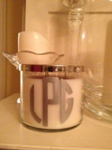 Monogram your candle, cool!
