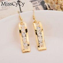 MissCyCy Gold Colors Hanging Earings Fashion Jewelry Fine Crystal Drop Earrings For Women 2017 New Hanging Earrings, Statement Earrings, Women's Earrings, Jewelry Art, Jewelry Accessories, Fine Jewelry, Fashion Earrings, Fashion Jewelry, Discount Jewelry