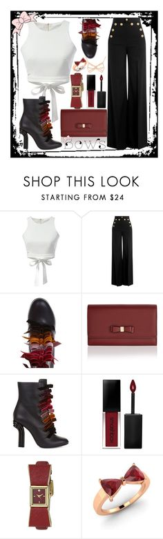 """""""bows contest in black and white"""" by teto000 ❤ liked on Polyvore featuring WithChic, RED Valentino, Marco de Vincenzo, Accessorize, Smashbox, Kate Spade, Diamondere, Ted Baker and bows"""