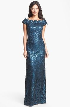 Tadashi Shoji Sequin Lace Off Shoulder Gown available at #Nordstrom