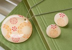 shrinky dink necklace + stencils & dimensional magic (love that stuff!)