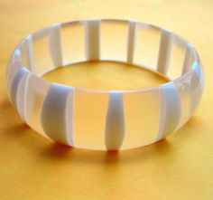 Vintage FROSTED Lucite Bracelet w/ Stripes Genuine 1960s Bangle from jordyb on Ruby Lane