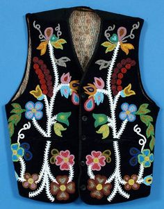 Ojibwa Floral Beadwork   194: 19TH C. Ojibway Beaded Vest with Floral Design and