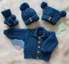 Isaac is a Baby Knitting Pattern suitable for a boy or girl and has a cardigan, 2 styles of hat, square or bobble, and booties to fit a baby chest made using DK yarn and needles. This Baby Knitting Pattern is also available as a posted copy. Baby Boy Knitting Patterns, Baby Cardigan Knitting Pattern, Baby Girl Patterns, Baby Hats Knitting, Knitted Hats, Knitting Ideas, Toddler Cardigan, Baby Boy Cardigan, Crochet Baby Jacket