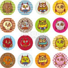 Vector owl set, cute owls, bird Royalty Free Stock Vector Art Illustration