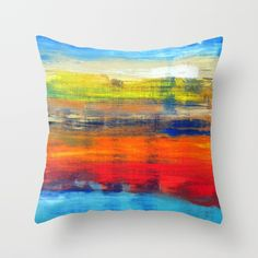 Horizon Blue Orange Red Abstract Art Couch Throw Pillow by Art-by-lang - Cover x with pillow insert - Indoor Pillow Throw Cushions, Couch Pillows, Designer Throw Pillows, Red Abstract Art, Fluffy Pillows, Pillow Design, Blue Orange, Pillow Inserts, Wall Tapestry