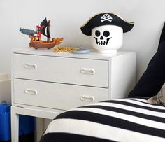 LEGO skeleton head, a creative way to store your pirate hat! Design by Room Copenhagen