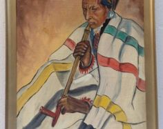 AMAZING PAINTING!  Winold Reiss (1886-1953) American Indian Oil Painting Artphile at etsy.com