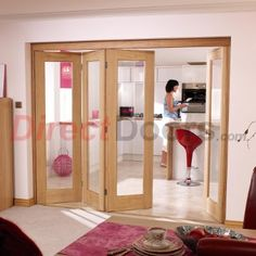 As usual....Free delivery is offered on this Nuvu Roomfold Pattern 10 Oak door and frame set with clear safety glass, please note that the centre pane may be narrower than shown in the single door images as the doors used for these NuVu systems have to be the narrower versions, they would be supplied without decoration. The doors used are all 1981mm high and either 533mm, 610mm or 686mm wide, this gives an overall opening requirement of 2078mm high and in ...