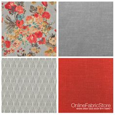 Fall colors, orange and gray decor fabric.