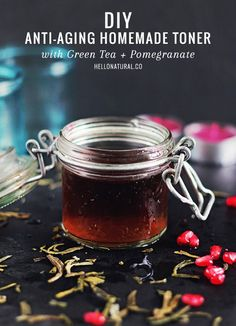 An anti-aging homemade toner that combines the antioxidant power of green tea and pomegranate juice.