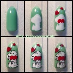 Nails Diy Designs Step By Step Nailart Trendy Ideas Snoopy Nails, Nail Art Dessin, Decoration Chic, Animal Nail Art, Valentine Nail Art, Diy Nail Designs, Trendy Nail Art, Disney Nails, Diy Décoration