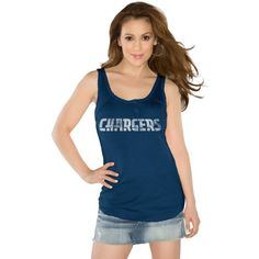 Touch by Alyssa Milano San Diego Chargers Ladies Curve Ball Tank Top - Navy Blue