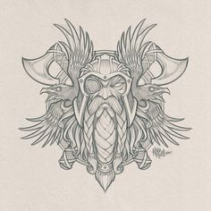 Odin's Ravens // Pencils for a cool collaboration project in the works. #odin #viking #god #axe #raven #birds #wings #pencils #sketch #design #art #absorb81