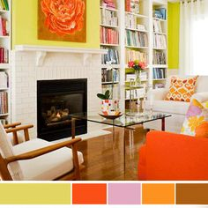 color combinations for livingrooms | ... paint, white, orange, light purple and brown living room furnishings