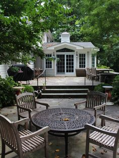 Simple Country Home Design with Outdoor Space: Exciting Traditional Patio Design With Circular Table Westchester County Homes