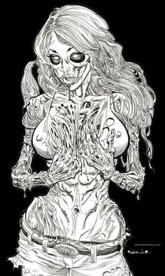 Zombie Pin Up - Zombie Artist Rob Sacchetto's Zombie Portraits. Go to zombieportraits.com to see more of Rob's work!