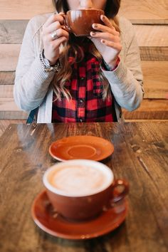 Red plaid and a rich cup of coffee