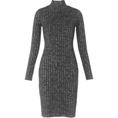 Whistles Ribbed Roll Neck Dress, Grey Marl ($115) ❤ liked on Polyvore featuring dresses, longsleeve dress, grey dress, ribbed dress, slim fit dress and gray dress