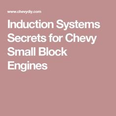 Induction Systems Secrets for Chevy Small Block Engines