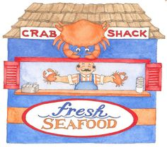 board walk - Anne Lisbeth Stavland - Picasa Web Albums Summer Clipart, Crab Shack, Fresh Seafood, Paper Houses, Digi Stamps, Recipe Cards, Illustrations, Summer Days, Disney Characters