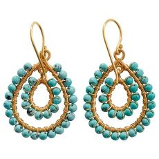 Dewdrops In Delhi Earrings - real turquoise jewelry. Only $19.99