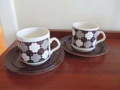Crown Lynn 2 Galatia Cans & Brown Saucers Cup And Saucer, Porcelain, Pottery, Crown, Canning, Mugs, Tableware, Glass, Philippines