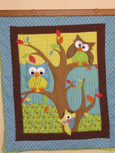 owls in a tree appliqued baby quilt, felt & flannel, blues, green & yellow