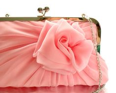 Baby Pink Rose Clutch With Chain  Size Large  by HeidiCreations