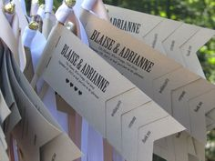 Small Flag Wedding Programs. Make a Thank You tab -- consider putting Yay! Woo! Etc. on the back sides?