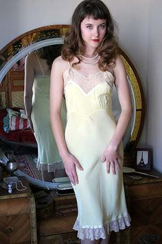 On Dollhouse Bettie: 40s Vintage Sunshine Yellow Rayon & Lace Slip $109.00