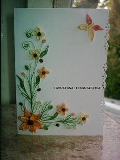 . flower border, butterfli, filigrana, quilled flowers borders, card quill, quill card, leav, pretti card, beauti card
