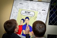 Brothers' B'nai Mitzvah Sign-In Board {A Magic Moment} - mazelmoments.com