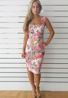 Floral Back Cut Out Midi Dress