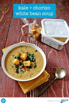 Kale + Chorizo White Bean Soup: What happens when you combine protein-packed beans, delicious chorizo, carb-a-licious potato, and superfood kale? You get a hearty soup that can serve as an entire meal. Top with croutons and you're done!