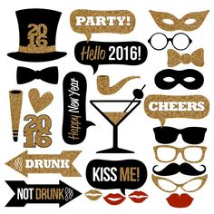 2016 New Year's Eve Photo Booth Props Collection–Printable Instant Download–Black & Gold Glitter Photo Booth Props for New Year's Eve Party by Studio120Underground on Etsy https://www.etsy.com/listing/238825855/2016-new-years-eve-photo-booth-props