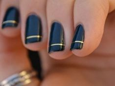 Image result for nail designs with gold lines