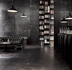 black + couch + shelves + lights + bar ++