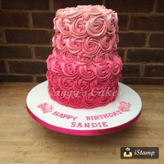 2 tier pink Ombre cake - Cake by Caggy