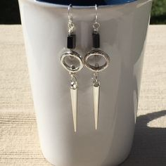 Hemalyke  and Silver Cone Dangle Earrings - pinned by pin4etsy.com