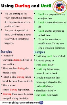 Using During and Until in English – Grammar English Grammar Rules, Teaching English Grammar, English Writing Skills, English Vocabulary Words, Learn English Words, Grammar And Vocabulary, English Phrases, English Language Learning, English Study