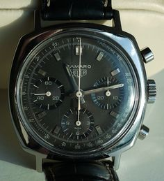 Heuer Camaro 3 dial chronograph vintage swiss wristwatch Valjoux 72 manual rare | eBay