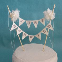 Ivory fabric Pompom flower JUST MARRIED Cake Banner by HARTfeltart, $34.00