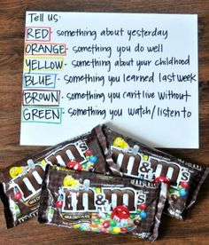 "Instead of candy, use color hairbands in brown bag, color blocks or legos, color pencils. A fun reinforcement activity for ""wh"" questions or social skills practice"