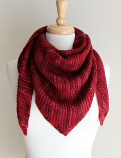 Truly Triangular Scarf  -  is a simple garter stitch sideways triangular scarf. The increase stitch used is kfb (knit into the front and back of the stitch) which is a great choice for garter stitch as it is nearly invisible. The decrease stitch used is the k2tog (knit 2 stitches together), also nearly invisible in garter stitch.