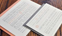 Hand-lettered Peach & Grey Wedding Invitation by Little Letter Co   printed by ELEFANT PRESS