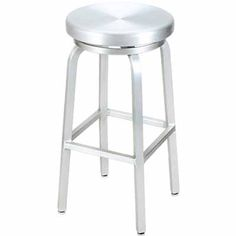"""Classic Aluminum Outdoor Swivel Bar Stool. Availability: Build to Order. Minimum order of 6. This aluminum outdoor bar stool is perfect for outdoor restaurant seating. Seat is all-weather brushed aluminum. Swivel seat. Available Heights: 24"""" Counter or 30"""" Bar. Dimensions: 14 1/2""""L x 14 1/2""""W"""