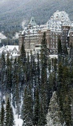 This was taken on our last morning in Banff, which was cold. The famous Fairmont Chateau Banff Springs, as shot from Tunnel Mountain Road. Dream Vacations, Vacation Spots, British Columbia, Banff National Park, National Parks, Places Around The World, Around The Worlds, Beautiful Places In The World, Places To Travel