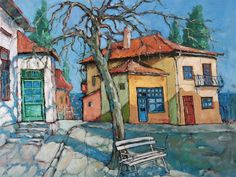 Balchik Yellow House Painting by David Croitor House Painting, Painting & Drawing, Yellow Houses, Unique Paintings, Arte Popular, Naive Art, Painting Inspiration, Home Art, Sculpture Art